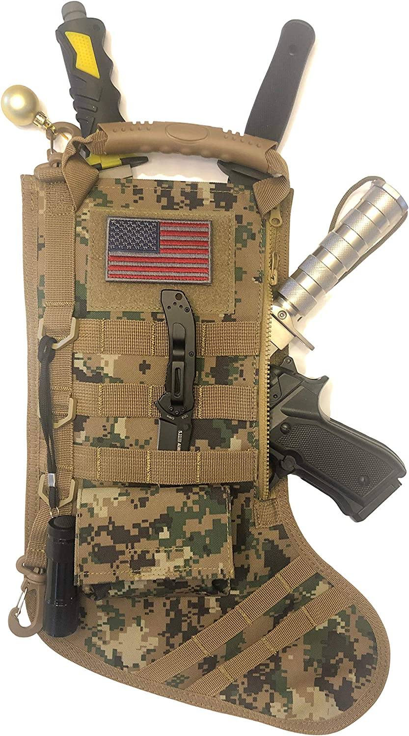 Military Tactical Christmas Stocking Xmas Scok Storage Bag with Molle Gear