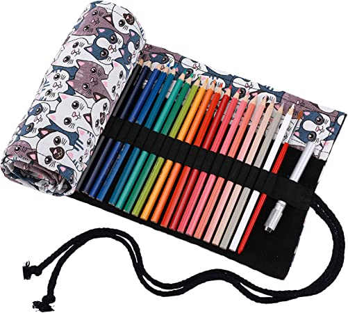 Abaría - Bolso para lápices, medio estuche enrollable para 48 lapices colores, portalápices de lona, bolsa organizador lápices para infantil adulto, blanco 48: Amazon.es: Electrónica
