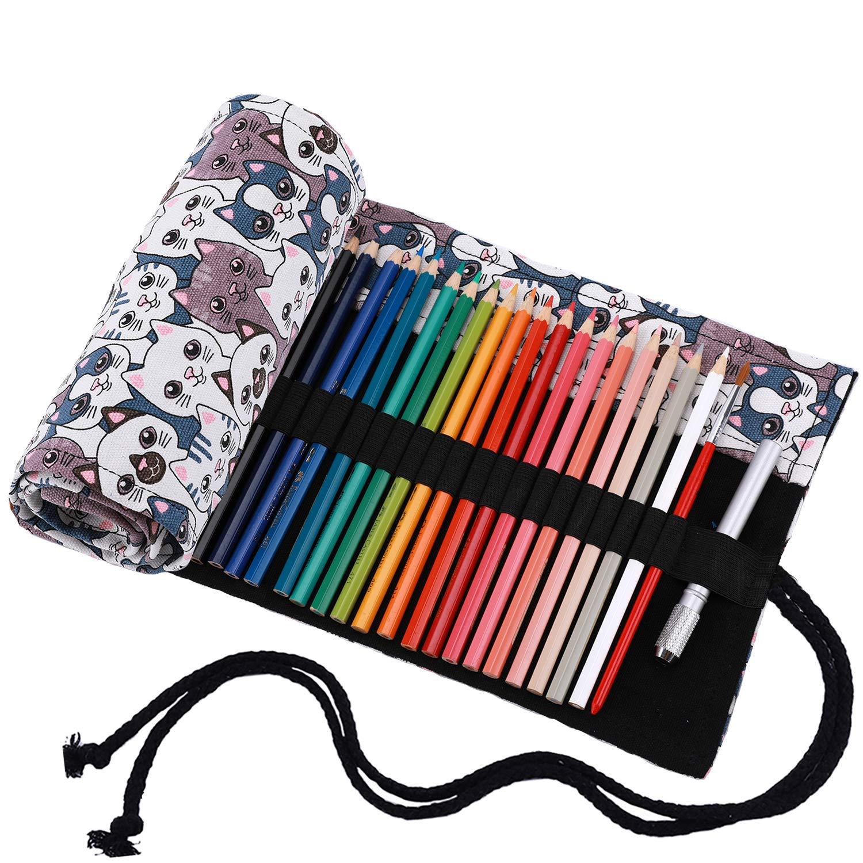 prugna 36 holes Amoyie Sacchetto della matita portamatite arrorolabile per pennarelli o matite colorate tela borsa