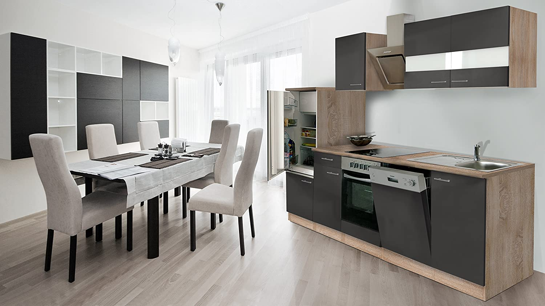 respekta Einbau Küche Küchenzeile 280 cm Eiche Sonoma Sägerau Front Grau inkl. Designer-Schräghaube