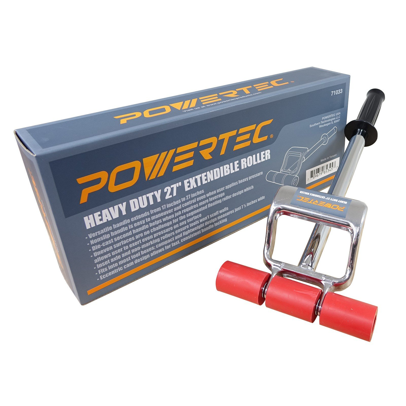 POWERTEC 71033 Heavy Duty 27-Inch Extendable Roller | Die-Cast Second Handle for More Leverage by POWERTEC