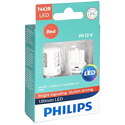 Philips 7443RLED Ultinon LED Bulb (Red), 2 Pack: Automotive