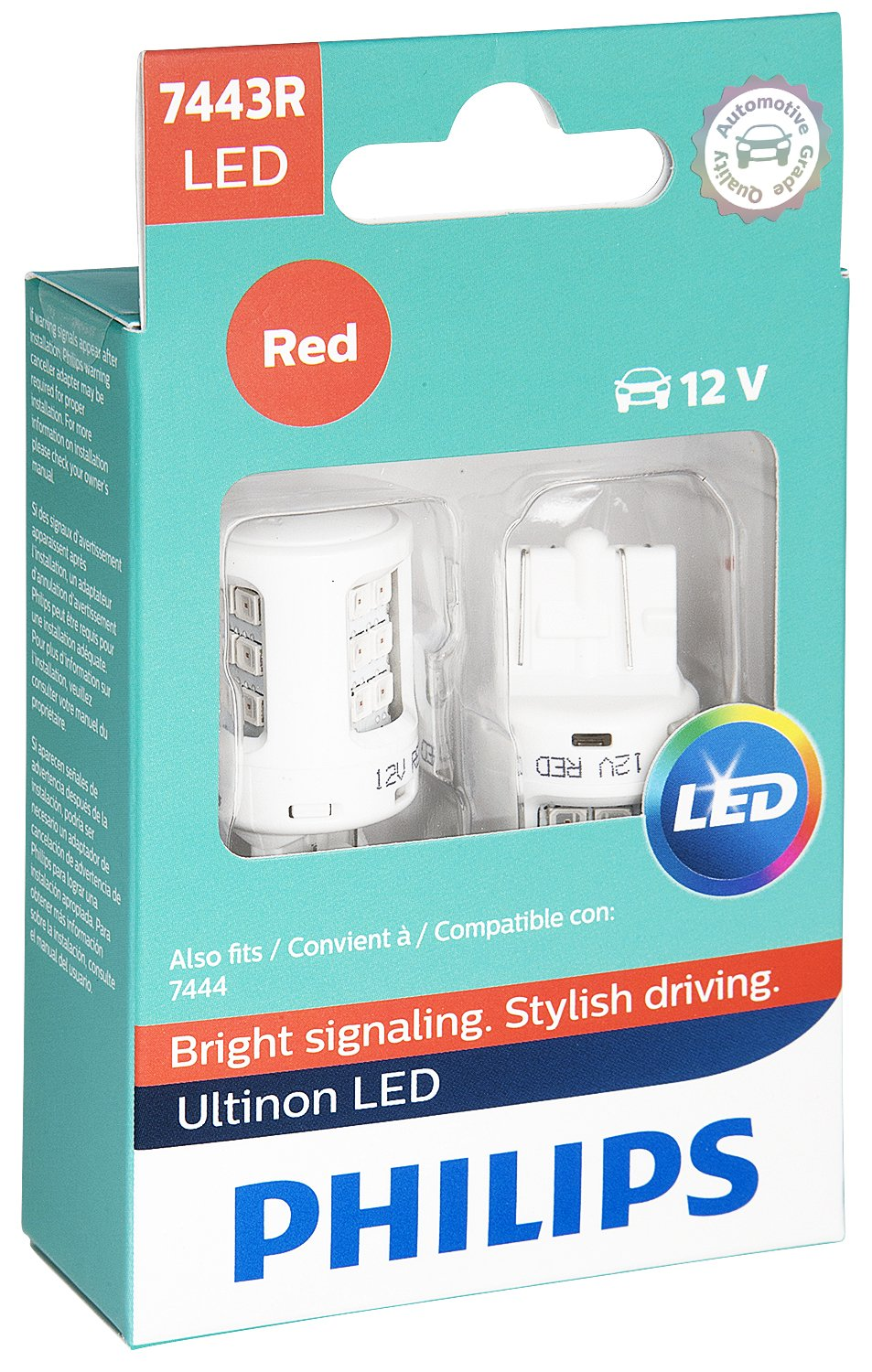 Philips 7443 Ultinon LED Bulb (Red), 2 Pack 7443RLED