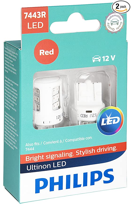 Philips 7443 Ultinon LED Bulb (Red), 2 Pack