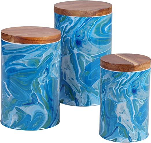 Certified International Fluidity 3 Piece Canister Set with Bamboo Lids, 30 oz, 64 oz, 96 oz. Capacity, Multi Colored
