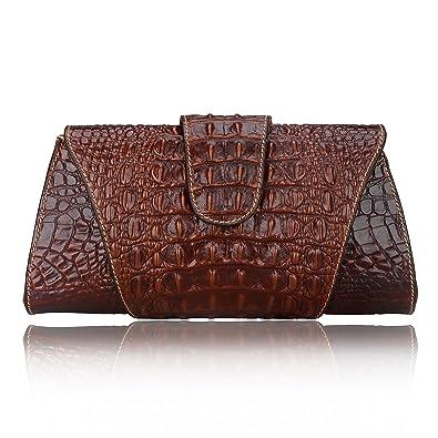Pijushi Croco Embossed Leather Clutch Bag Cross Body Handbag 8062 ...