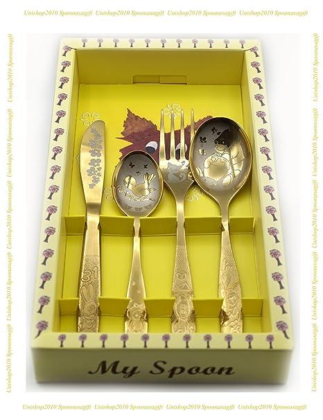 SPOONASAGIFT Cubertería para niños (tenedor, cuchillo de mesa, cuchara y cuchara pequeña)