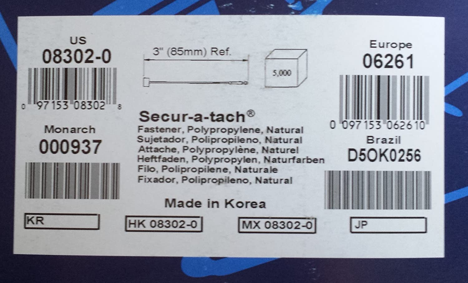 5000//box 3 Secur-a-tach Fasteners Loops Avery Dennison 08952-0