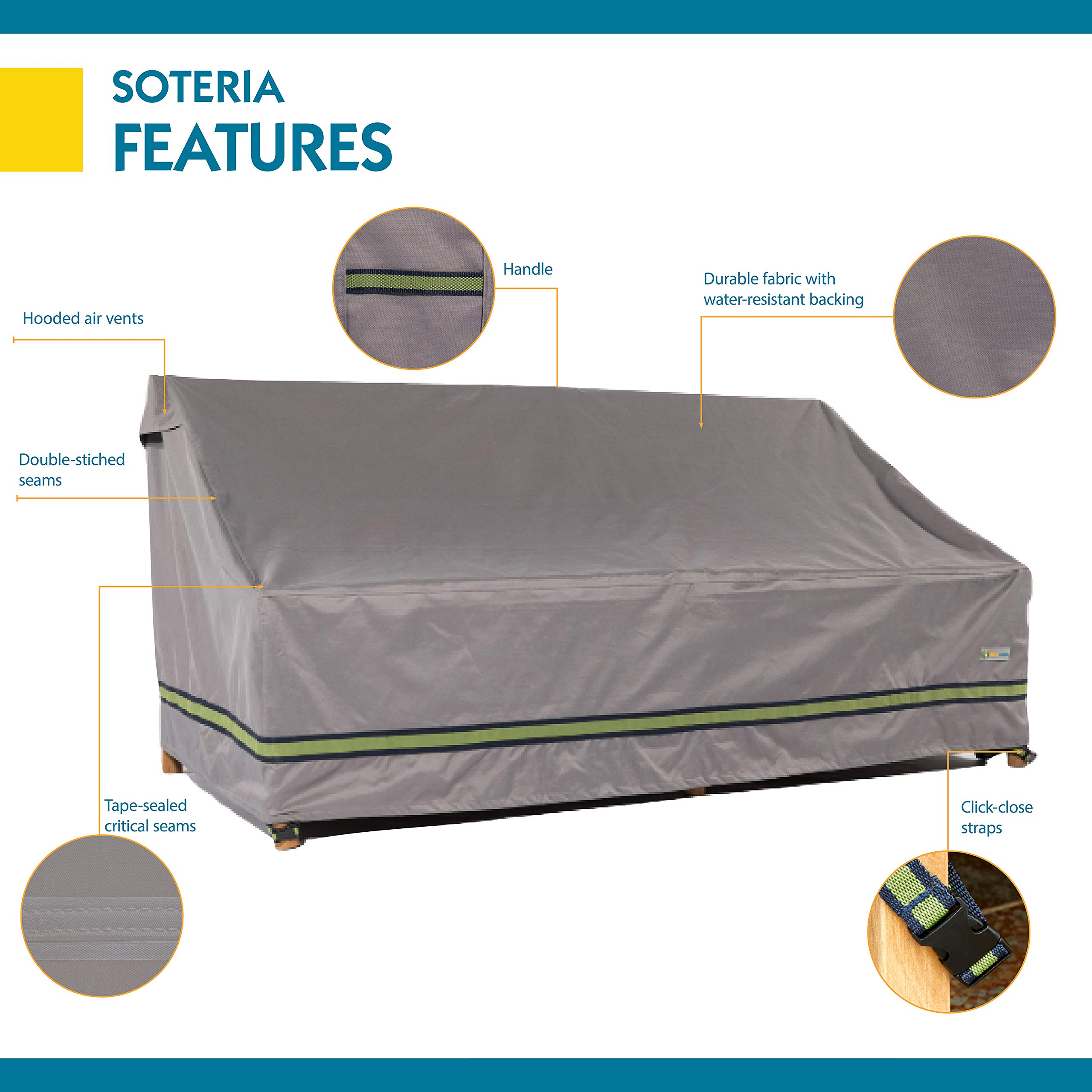 Duck Covers Soteria Rainproof 62'' Wide Patio Loveseat Cover by Duck Covers (Image #4)