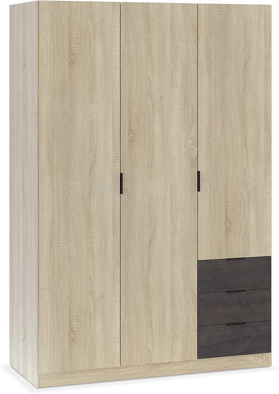 Habitdesign LC0323F - Armario ropero de Tres Puertas y Tres ...