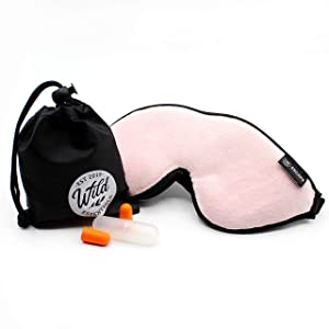 Wild Essentials® Escape Luxury Plush 3D Sleep Mask Kit with Molded Eye Cavities, Nose Bridge for Light Block, Soft Foam Cushion, Earplugs and Carry Pouch, Gift Set, Travel (Peacefully Pink)