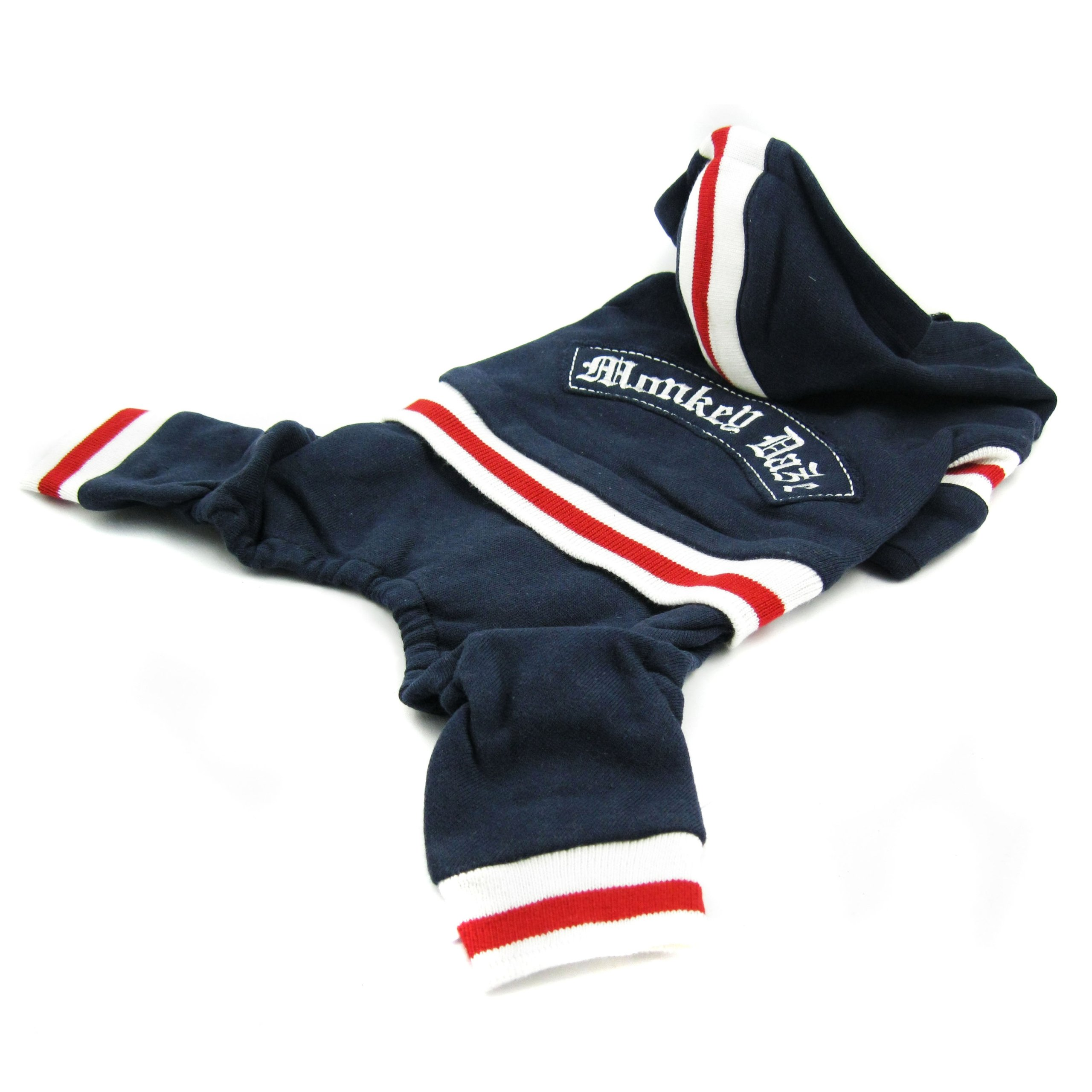 Monkey Daze Designer Dog Apparel - Navy Fleece Monkey Jumper Pant - Color: Navy, Size: S