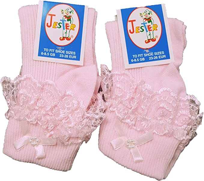 Girls Cream White /& Pink Jester Frilly Lace Ankle Socks Pack of 1 or 3 Pair