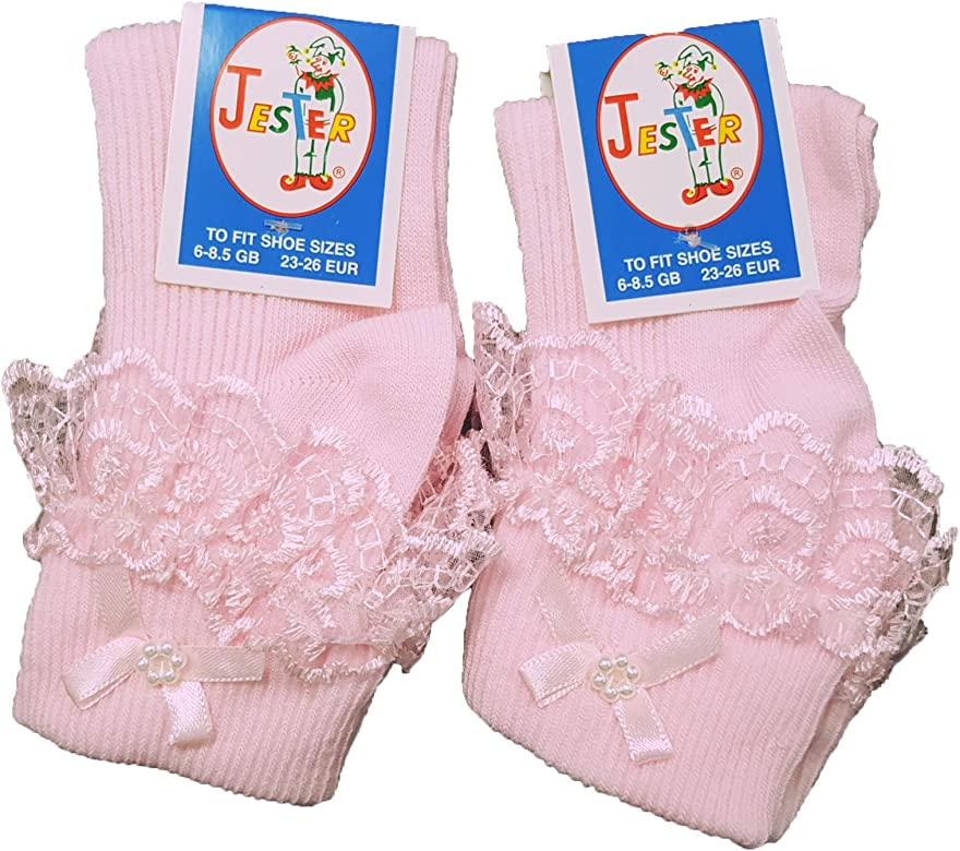 2 Pairs of Girls School Lace Frilly Ankle Socks Fancy 9 Colours and UK Sizes