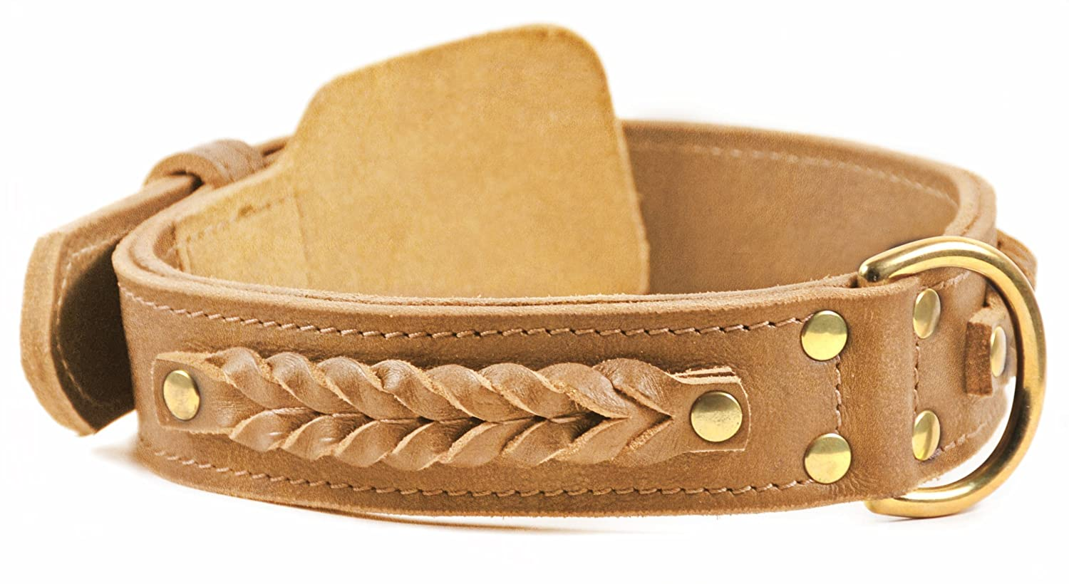 Dean and Tyler BRAIDED HEAVEN , Leather Dog Collar with Solid Brass Hardware Tan Size 24-Inch by 1-3 4-Inch Fits Neck 22-Inch to 26-Inch