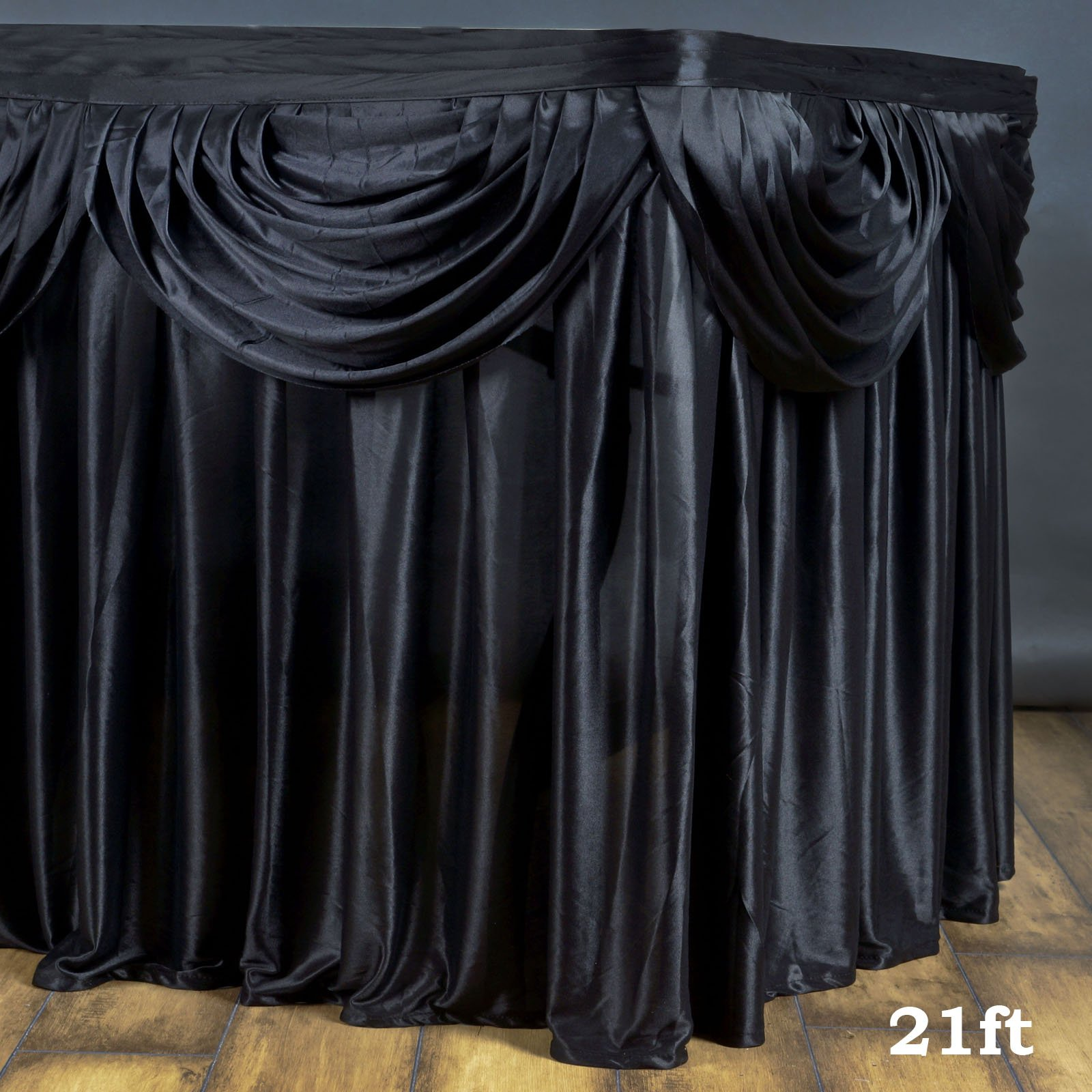 Efavormart Black Satin Double Drape Table Skirt for Kitchen Dining Catering Wedding Birthday Party Decorations Events 21ft