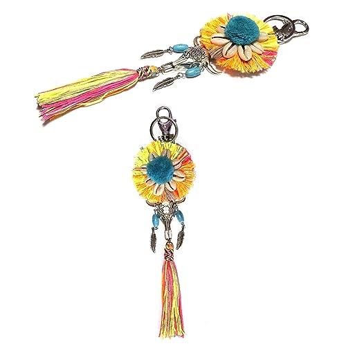 Ethno de hippie de llavero con Bunter borla, metal medallón ...