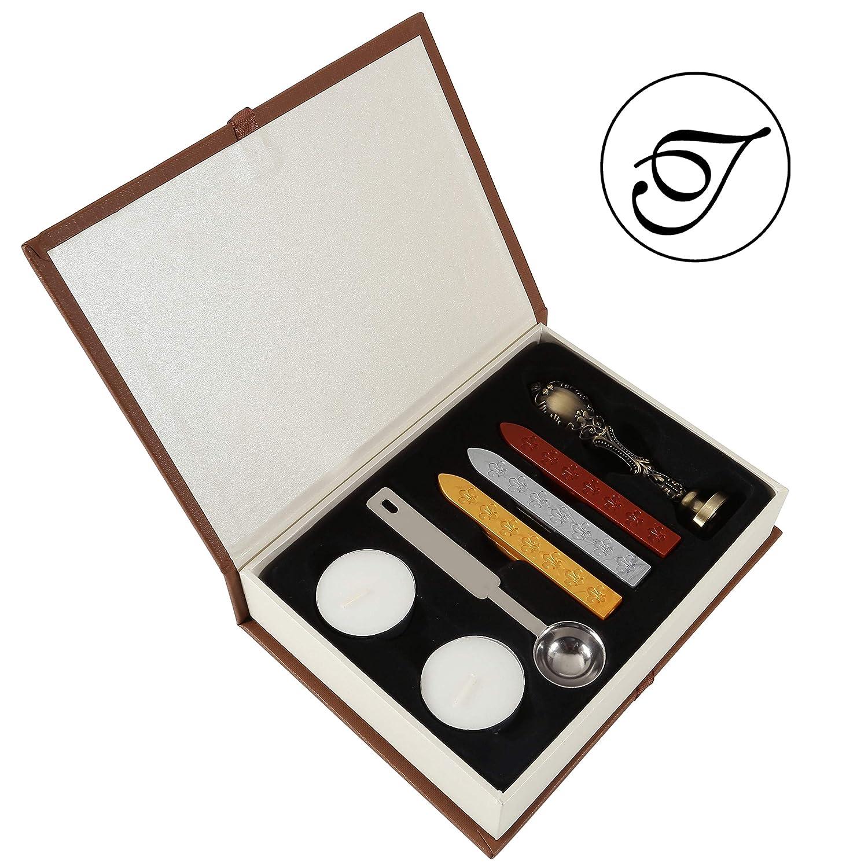 T Mogokoyo Vintage-Stil Wachs Siegelstempel Set Stempel mit Metall Griff A-Z Dekorativer Siegel Petschaft Brief 26 Buchstaben