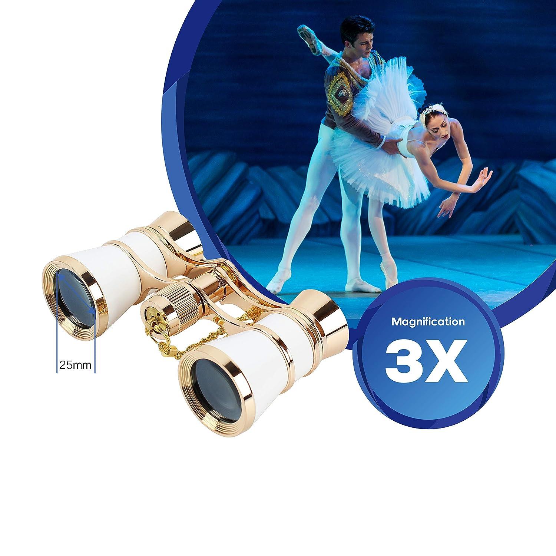 Aomekie/Opera/Glasses/Binoculars/3X25/Theater/Glasses/Mini/Binocular/Compact with Chain for/Adults/Women/Kids//in/Musical/Concert(Red)