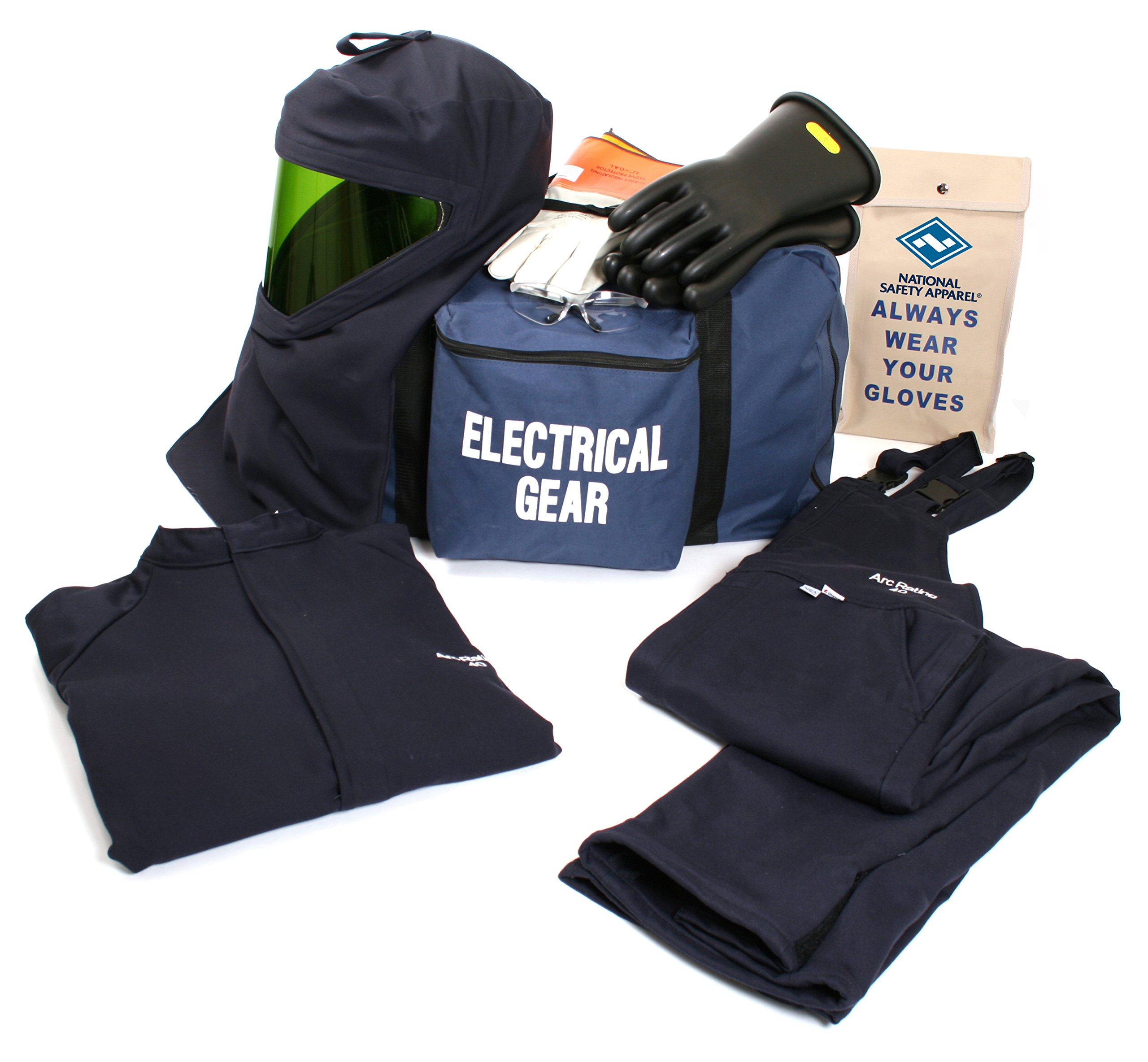 National Safety Apparel KIT4SC40LG09 ArcGuard UltraSoft Arc Flash Kit with Short Coat and Bib Overall, 40 Calorie, Large/Glove Size 9, Navy