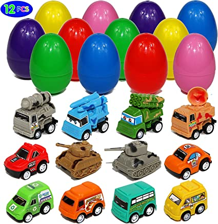 """Easter Eggs with Pull Back Construction Cars Assortment of Truck Vehicles Surprise Eggs for Easter Party Favors and for Easter Basket Stuffers Jumbo 3/"""" Toy Filled Eggs Easter Egg Hunt"""