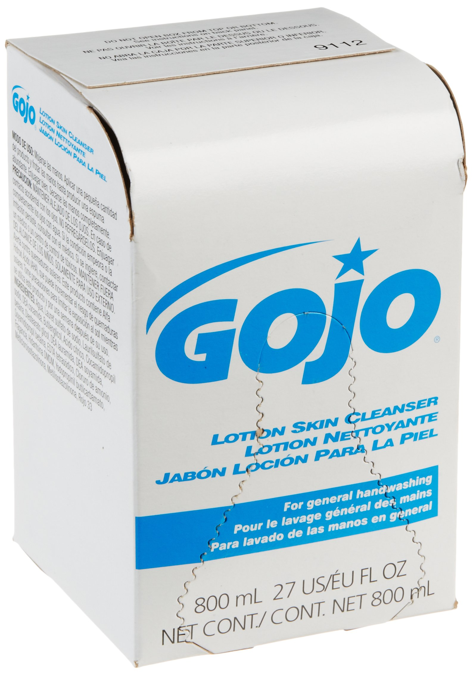 GOJO 800 Series Lotion Soap Skin Cleanser, Light Floral Scent, 800 mL Lotion Soap Refill for Bag-in-Box Soap Dispenser (Case of 12) - 9112-12