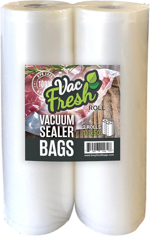 "Vac-Fresh Roll 11""x50' Vacuum Sealer Bags 3.5mil for FoodSaving Vacuum Sealers, 2 Rolls"