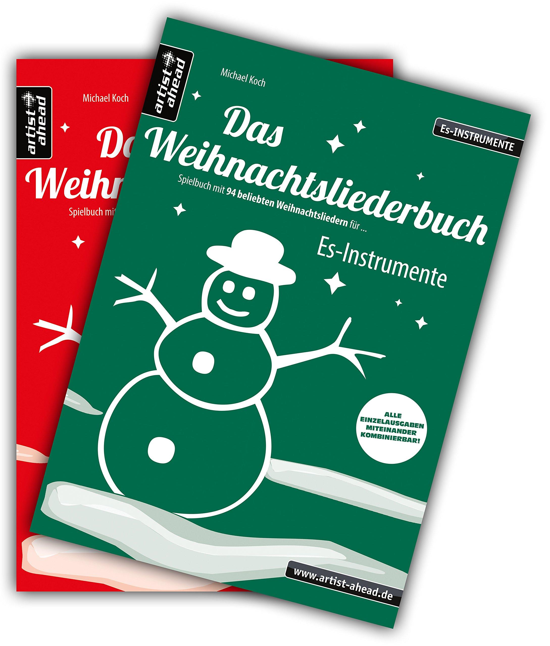 Das Weihnachtsliederbuch-Set: 2 Spielbücher mit 94 beliebten Weihnachtsliedern für Es-Instrumente (z. B. für Altsaxophon, Tuba) & Klavierbegleitung (mit Melodiestimme in C). Songbook. Musiknoten.