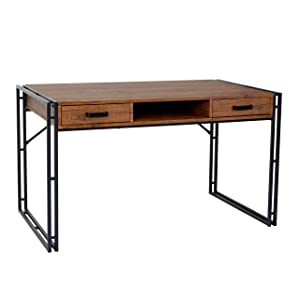 Mendler Bureau HWC-A27, Table d'ordinateur, 121x70cm, Structure 3D ~ chêne Sauvage