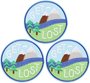 U-Sky Iron on Patches for Jean Jackets, 3pcs Letter Get Lost in Nature Embroidered Sew on/Iron-on Mountain Tree Nature Appliques Patch for Backpacks, Biker Vest, Bags, Shirt, Size: 3.1x3.1 inch