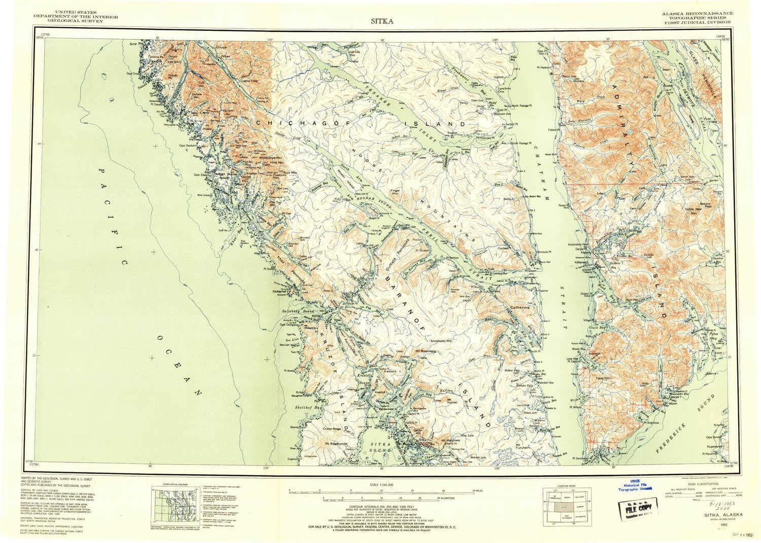 1952 Updated 1953 22.5 x 31.5 in 1 X 2 Degree Historical YellowMaps Sitka AK topo map 1:250000 Scale