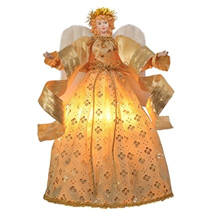 Valery Madelyn 16 Inch 10 Light Elegant Champagne Gold Ivory Christmas Tree Topper Angel Treetop Decorations Battery Operated Not Included