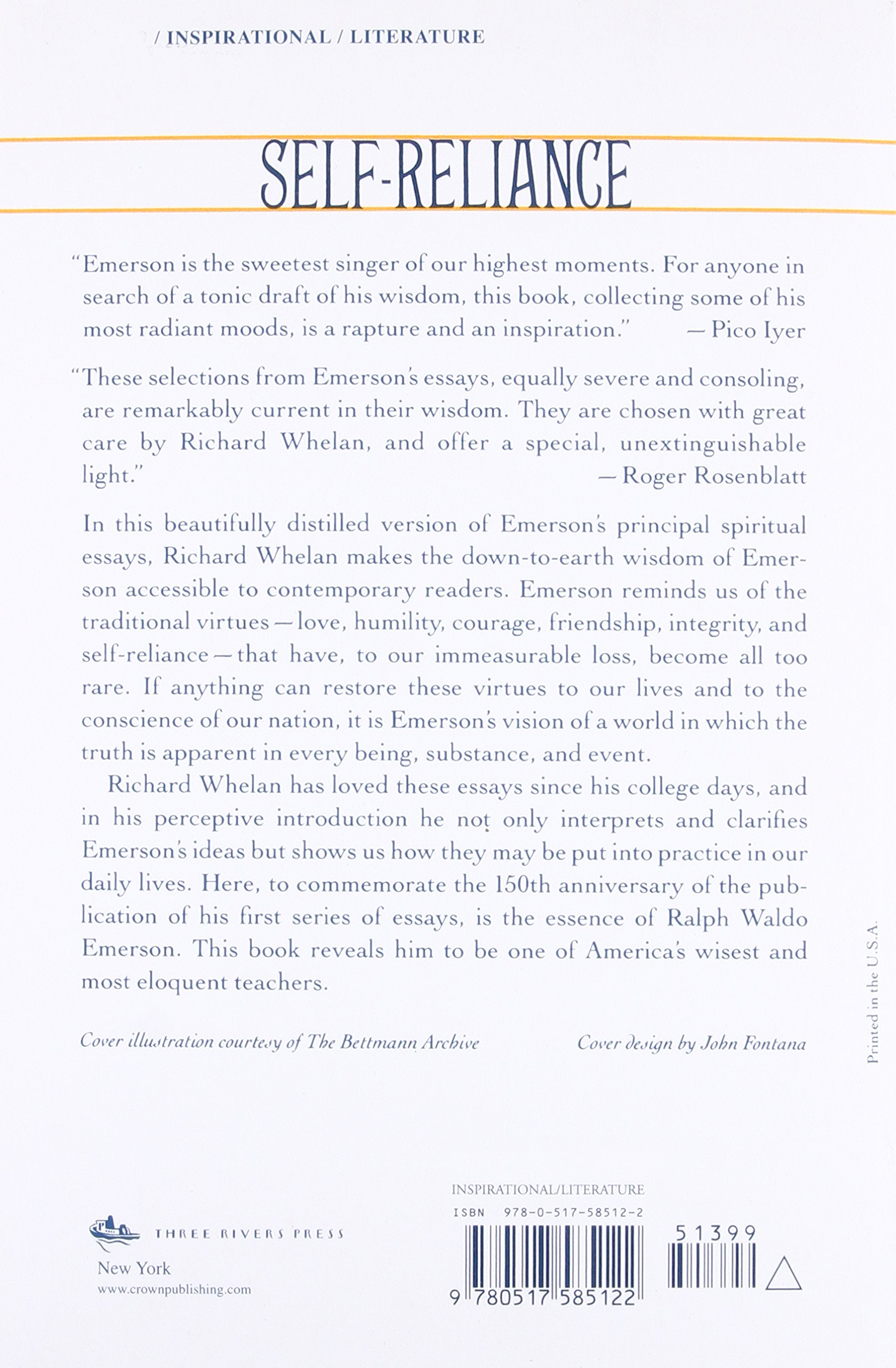 Self reliance the wisdom of ralph waldo emerson as inspiration self reliance the wisdom of ralph waldo emerson as inspiration for daily living richard whelan 9780517585122 amazon books fandeluxe Gallery