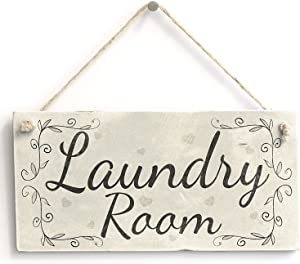 "Meijiafei Laundry Room - Rustic Country Hanging Door Or Wall Sign/Plaque 10""x5"""