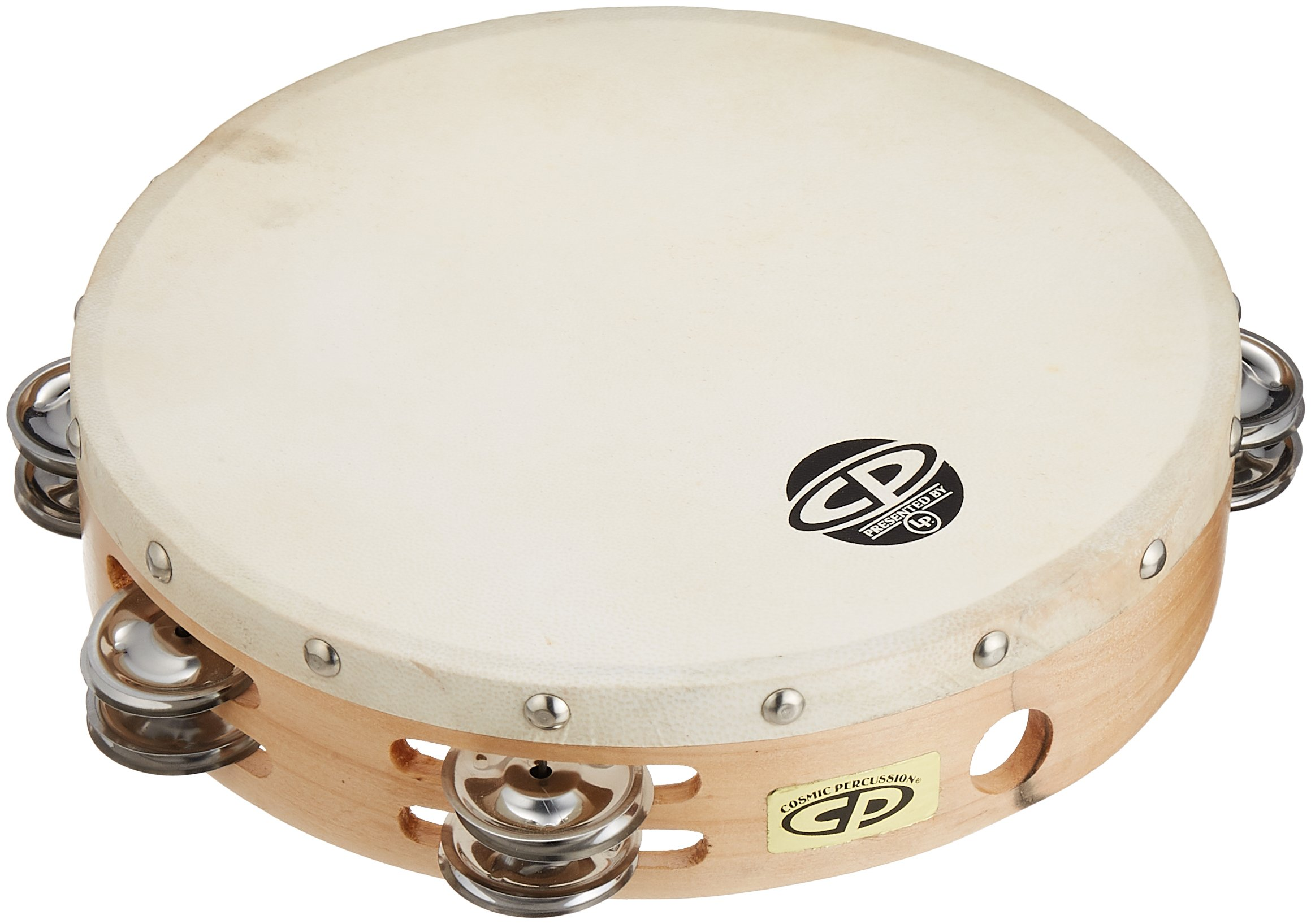 CP380 10'' Wood Tambourine, Headed, Double Row Jingles