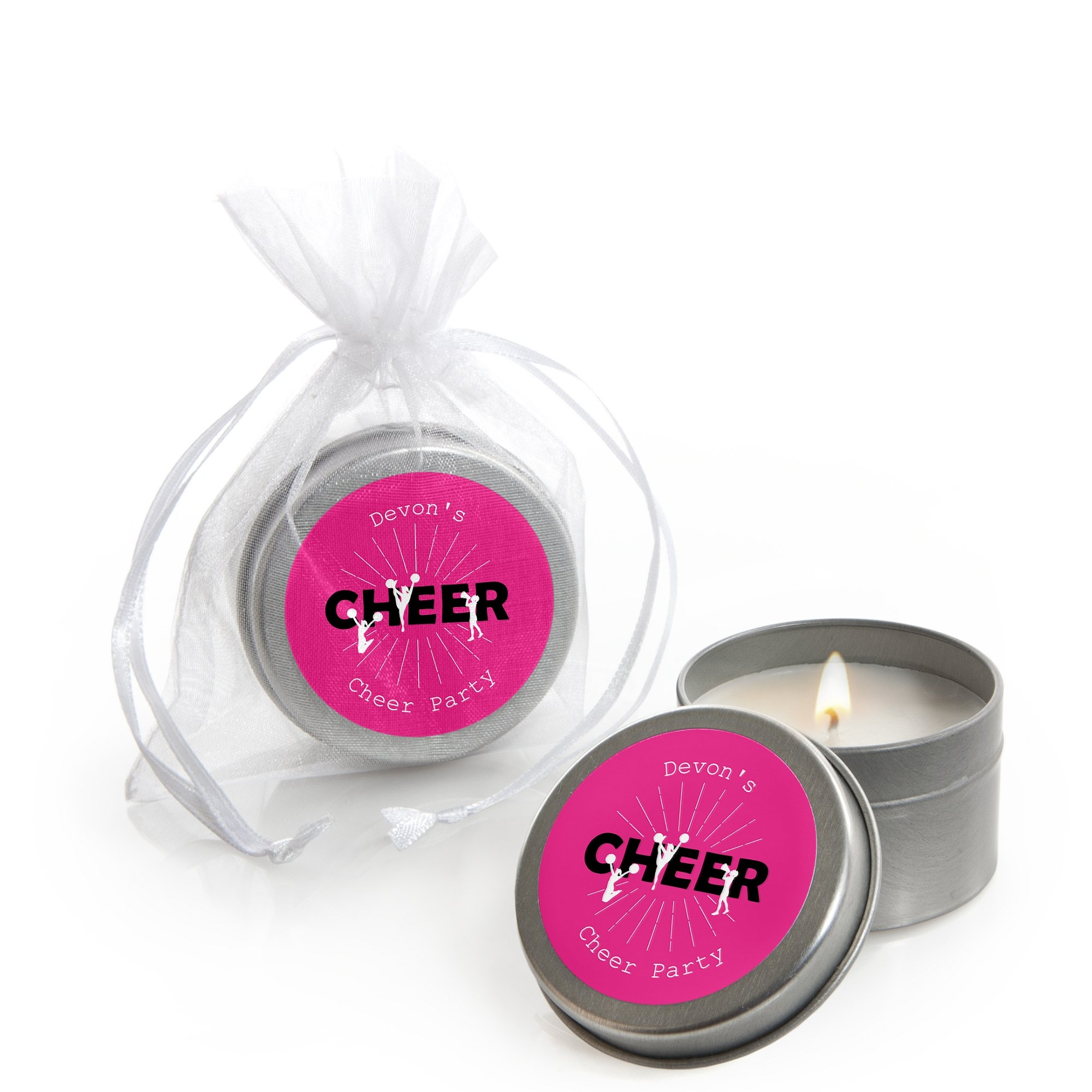 Personalized We've Got Spirit - Cheerleading - Custom Candle Tin Birthday Party or Cheer Party Favors - Custom Text - Set of 12