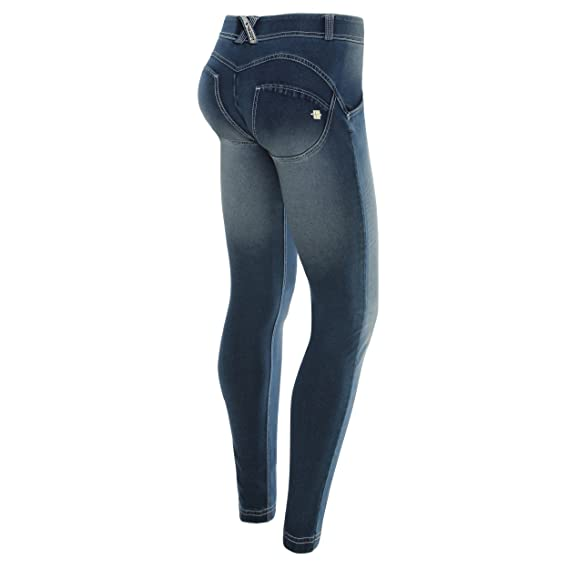 3f14d1a3037f76 UP® in Dark Denim with White Whiskering and Crinkle Effect - Denim Permanent