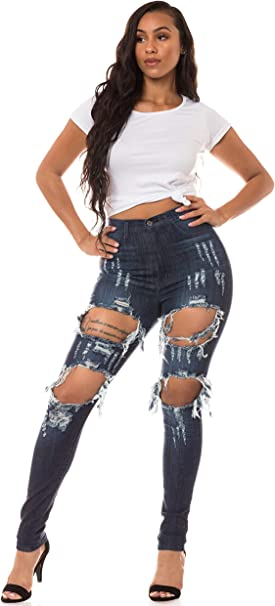 New Womens Ladies Extreme Ripped Distressed Hole Skinny High Waisted Denim Jeans