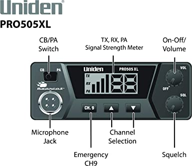 Uniden PRO505XL 40-Channel CB Radio. Pro-Series, Compact Design. Public Address PA Function. Instant Emergency Channel 9, External Speaker Jack, Large Easy to Read Display.