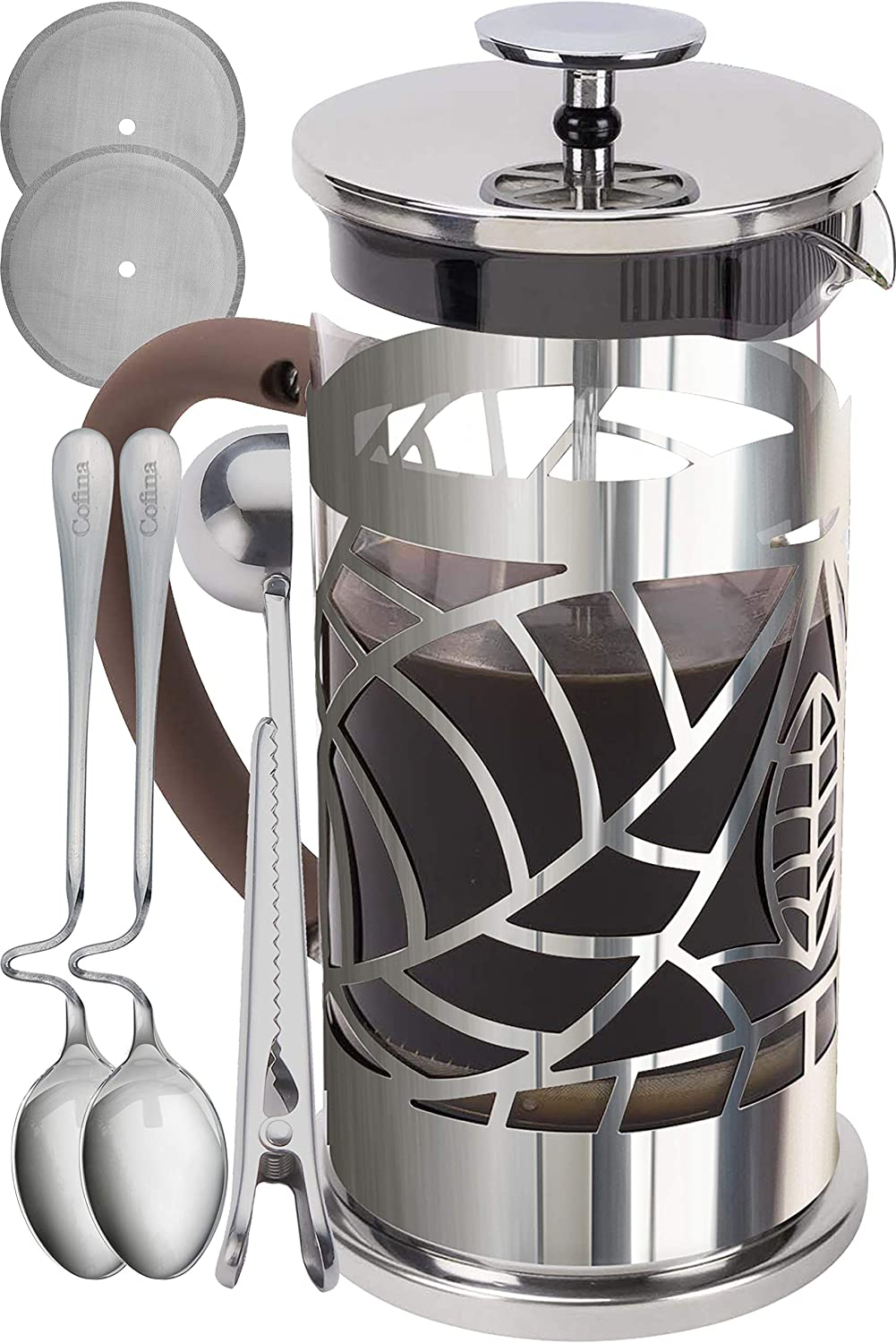 Cofina French Press Coffee Maker – 34 oz Large Stainless Steel Glass French Coffee Press Gift Bundle