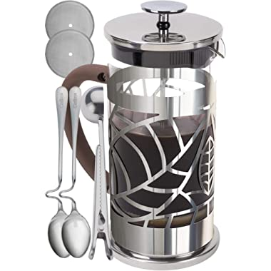 Cofina French Press Coffee Maker - 34 oz Large Stainless Steel & Glass French Coffee Press Gift Bundle