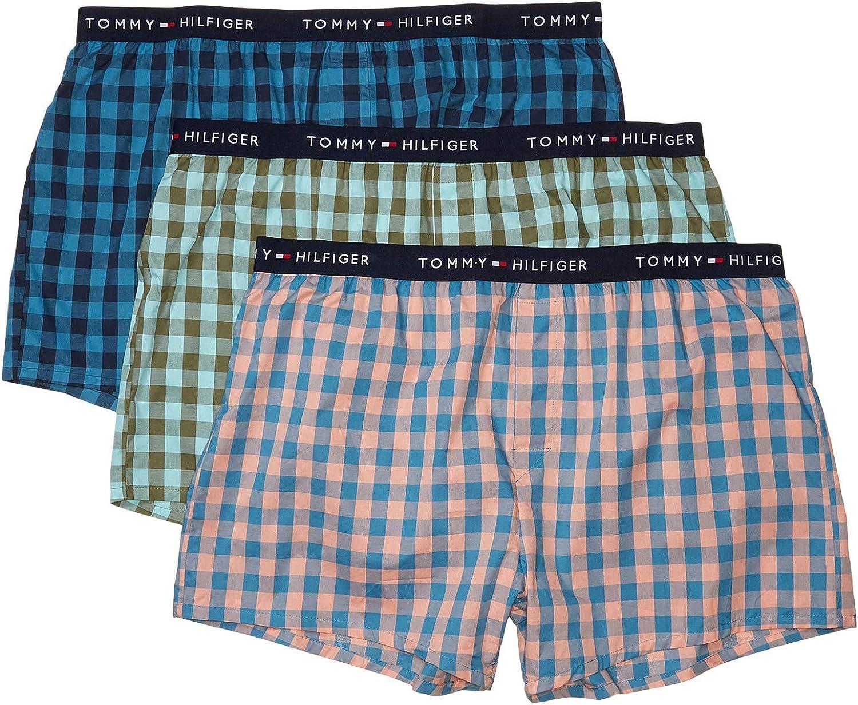 Tommy Hilfiger Mens Cotton Classics 3 Pack Slim Fit Woven Boxer