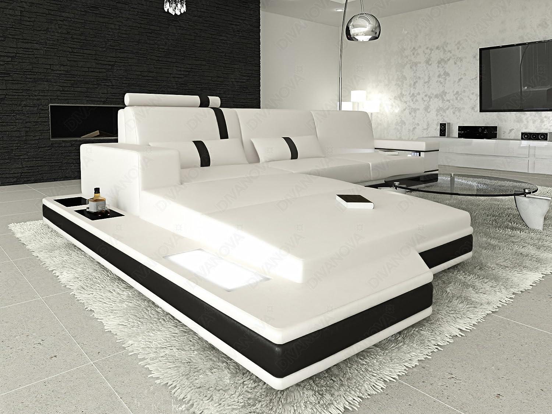 DIVANOVA | Divano moderno Proxima angolare in similpelle - bianco e ...
