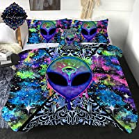 Trippy Alien by Brizbazaar Comforter Set 4 Pieces Colorful Tie Dye Bedding Sets with 3D Psychedelic Outer Space Pattern Alien Abstract Reversible Comforter for Boys Men (Twin)