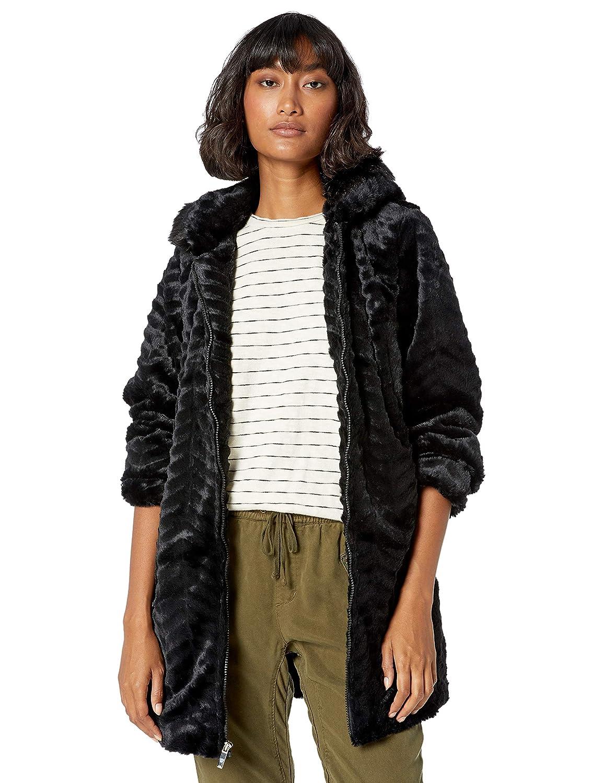 INTL d.e.t.a.i.l.s Womens Cozy Faux Fur Hooded Jacket