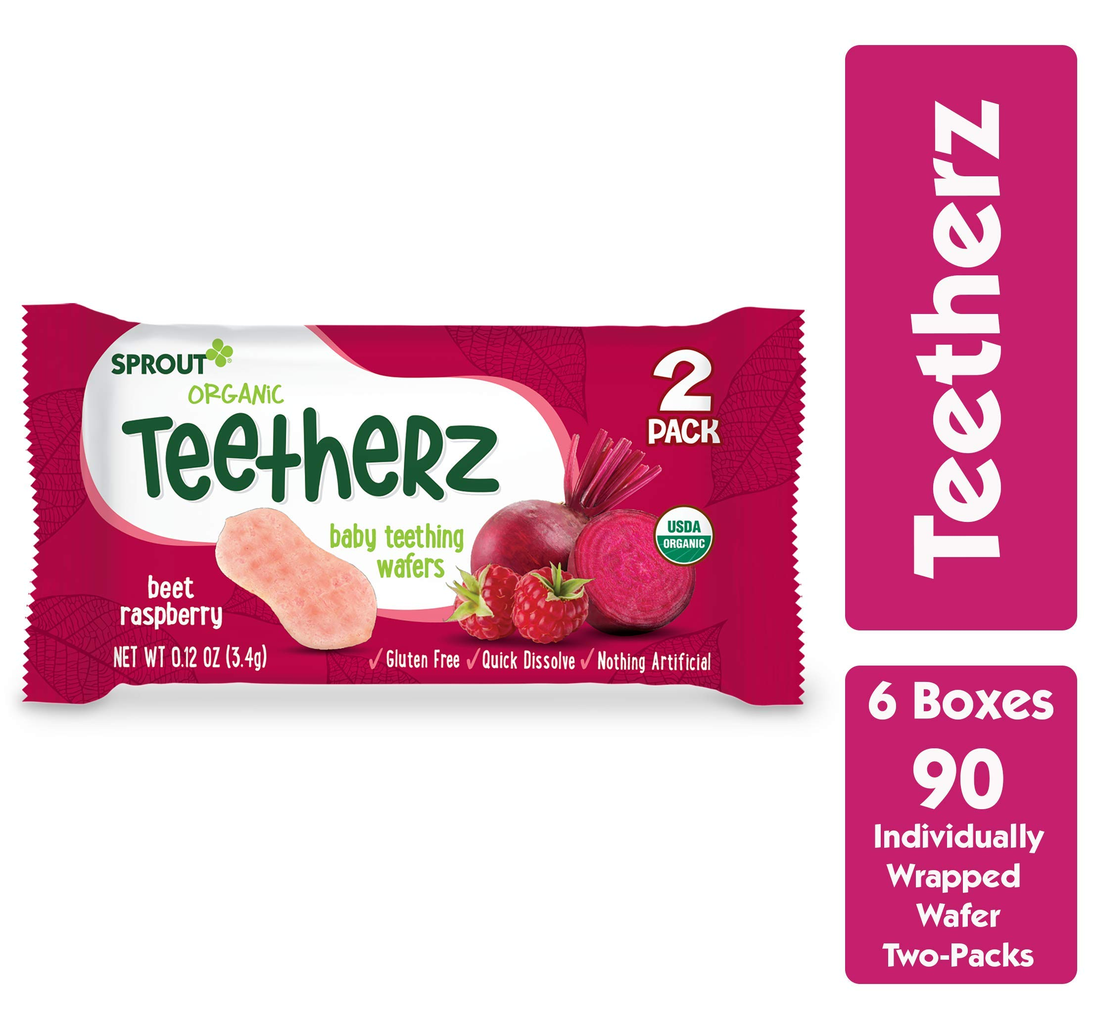Sprout Organic Teetherz Baby Teething Wafers, Beet Raspberry, Box of 30 (Pack of 6) by Sprout