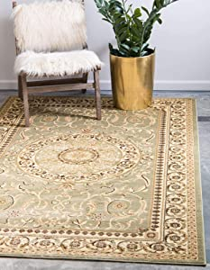 Unique Loom Versailles Collection Traditional Classic Light Green Area Rug (5' 0 x 8' 0)