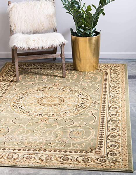 Amazon Com Unique Loom Versailles Collection Traditional Classic Light Green Area Rug 9 0 X 12 0 Furniture Decor