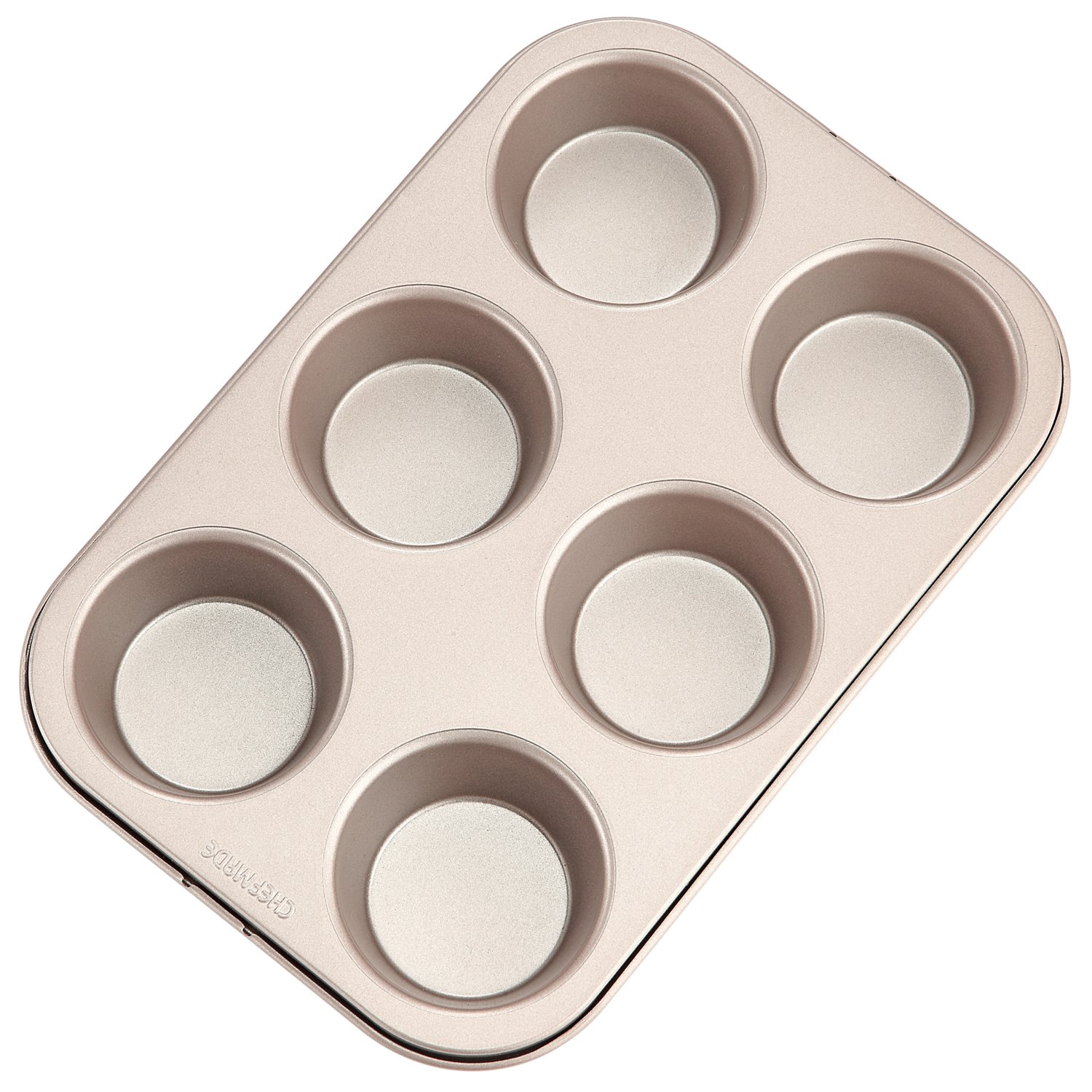 CHEFMADE Muffin Cake Pan, 6-Cavity Non-Stick Cupcake Bakeware, FDA Approved for Oven Baking (Champagne Gold)