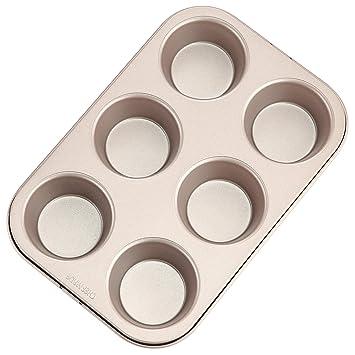 chefmade antiadherente moldes para magdalenas de grosor bordes redondeados con aprobado por la FDA, horno asar Pan molde para horno (Champagne oro): ...